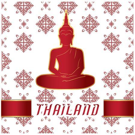 Thailand Buddha Statue Thai design White Background Vector Image