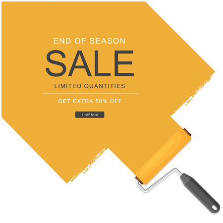 End Of Season Sale Limited Quantities Get Extra 50 Off Orange Paint Background Vector Image Archivio Fotografico - 98294480