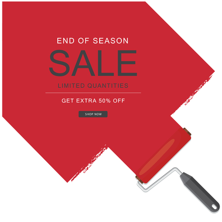 End Of Season Sale Limited Quantities Get Extra 50 Off Red Paint Background Vector Image Archivio Fotografico - 98316367