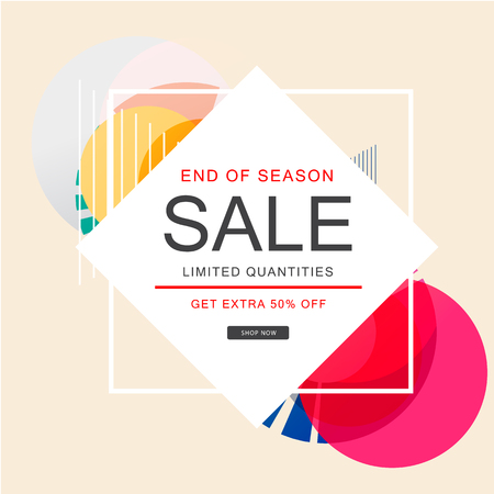 End Of Season Sale Limited Quantities Get Extra 50 Off Square Background Vector Image Archivio Fotografico - 98316474