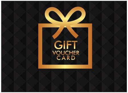 Gift Voucher Card Golden Gift Box Black Background Vector Image