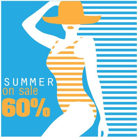 Summer On Sale 60% Swimming suit Blue Background Vector Image Illustration