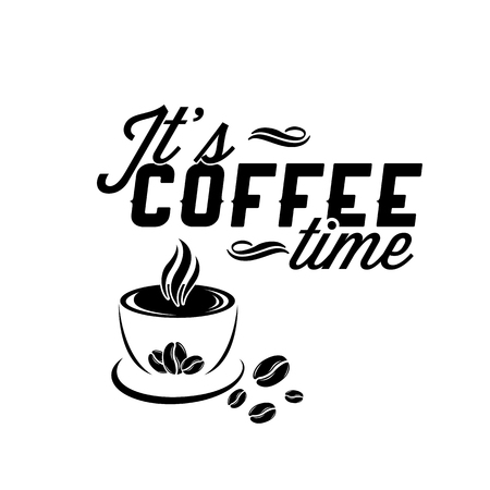 It's Coffee Time with Cup in White Background Vector Image Illustration