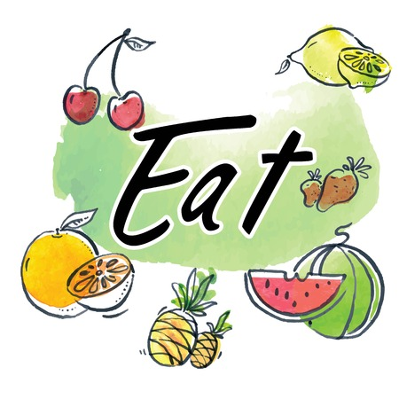 Eat Text Fruit Watercolor Background Vector Image Illustration