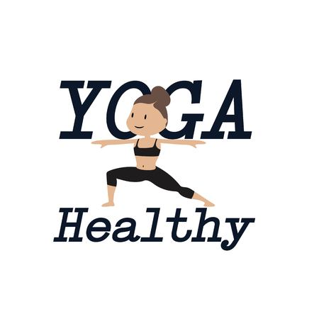 Yoga Healthy with woman on white background. Vector image illustration. Illustration