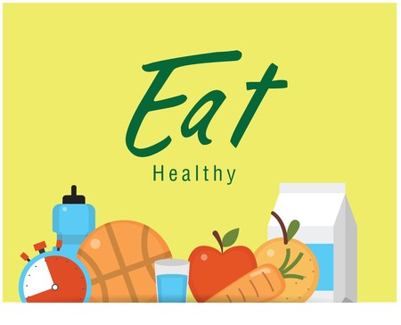 Eat healthy food on yellow background. Vector image illustration.