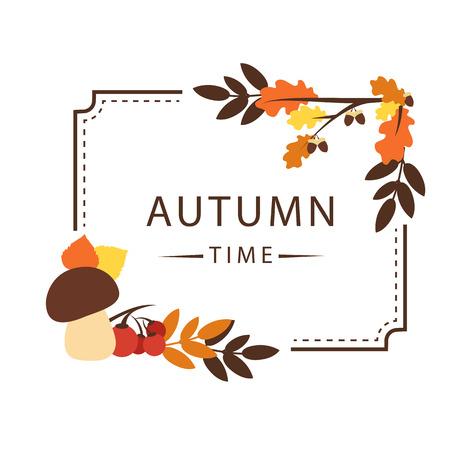 Autumn Time Maple Leaf Square Frame Background Vector Image 일러스트