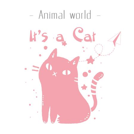 Animal World It's A Cat Pink Cat Background Vector Image 일러스트