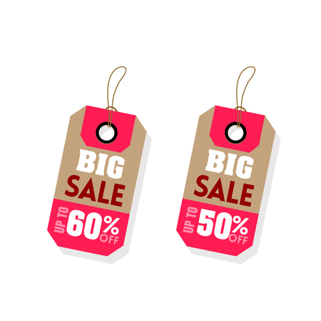 Price Tag Big Sale Up To 60% 50% Off Vector Image.