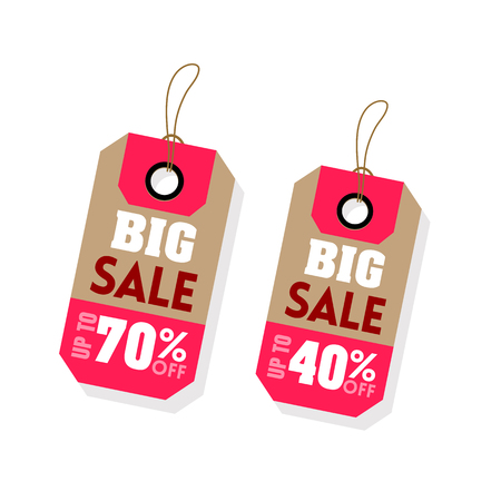 Price Tag Big Sale Up To 70% 40% Off Vector Image. Illustration