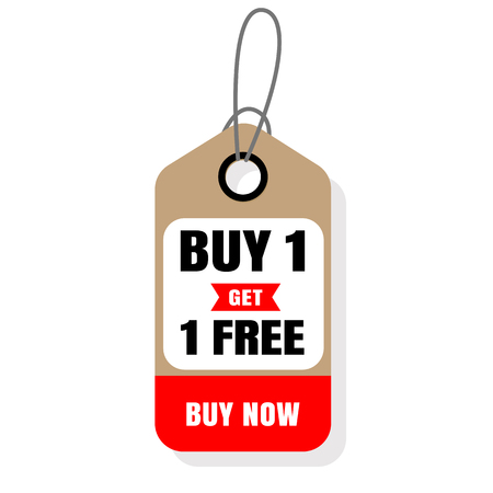 Price Tag Buy 1 Get 1 Free Buy Now Vector Image.