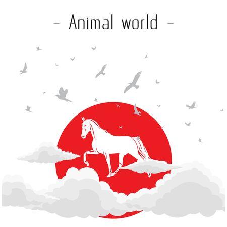 Animal World Horse Sun Clound Bird Background Vector Image Illustration