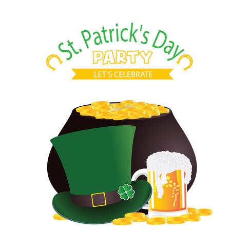 St.Patricks day Party Lets Celebrate Hat Beer Mug Gold Coin Background Vector Image Illustration