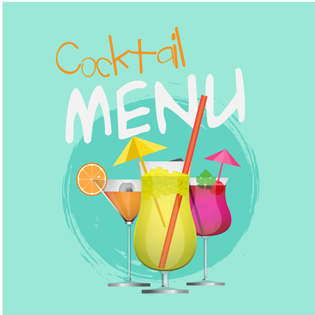 Cocktail Menu Set Of Cocktail Circle Blue Background Vector Image
