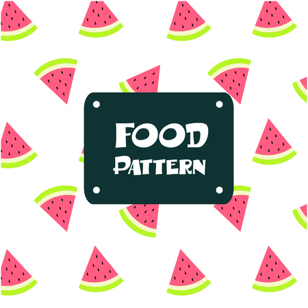 Food Pattern. Watermelon Background Vector Image