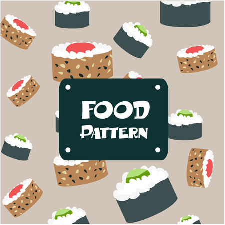 Food Pattern. Sushi Rolls Background Vector Image
