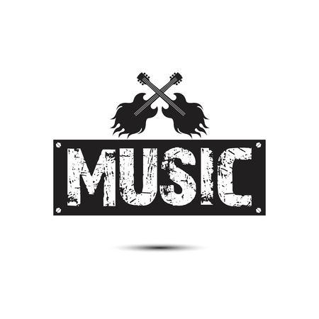 Music Square Frame Guitar Rock Background Vector Image  イラスト・ベクター素材