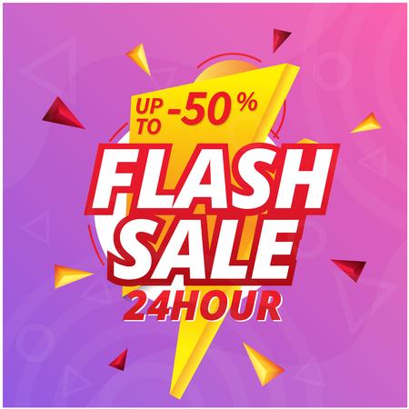Venta flash 24 horas hasta 50% de descuento, imagen de vector de fondo de perno