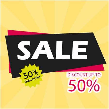 Sale Discount Up To 50% Vector Image Illustration