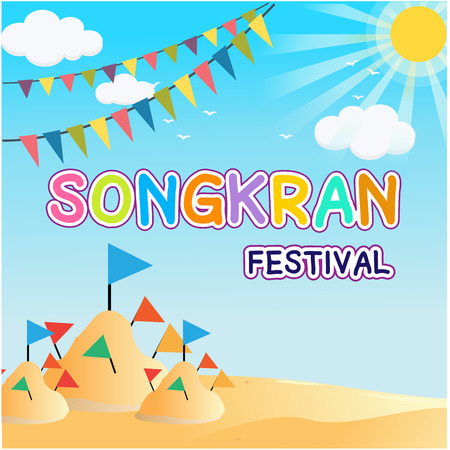 Songkran Festival greeting card template design Illustration