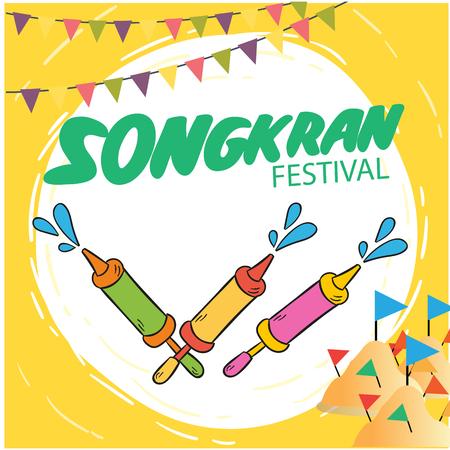 Songkran Festival wenskaartsjabloonontwerp