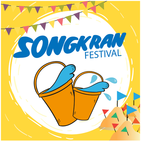 Songkran Festival greeting card template design