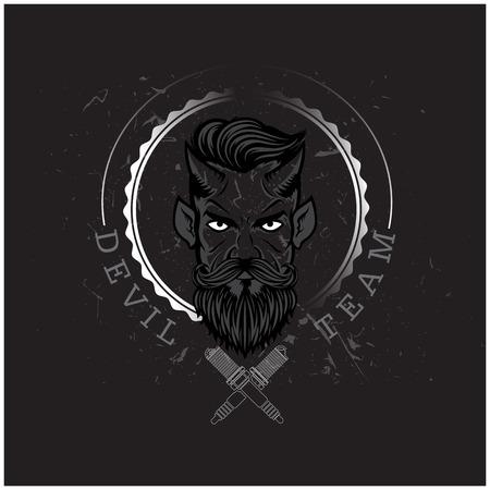 Devil Team Devil Circle Frame Black Background Vector Image Illustration