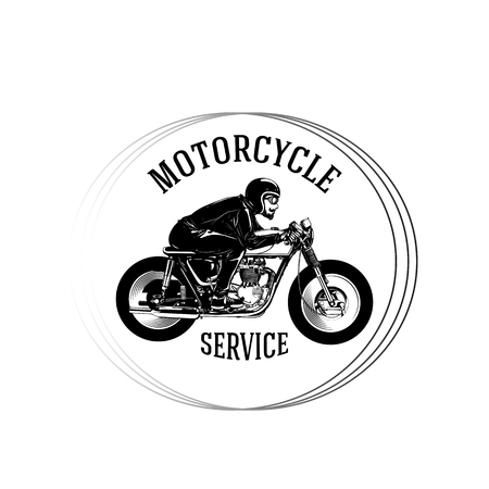 Motorcycle Service Man Riding Motorcycle Circle Frame Background Vector Image