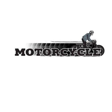 Motorcycle Man Riding Motorcycle White Background Vector Image Illustration
