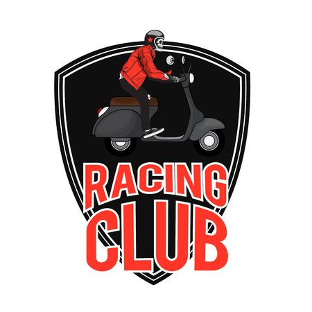 Racing Club Man Riding  scooter Background Vector Image