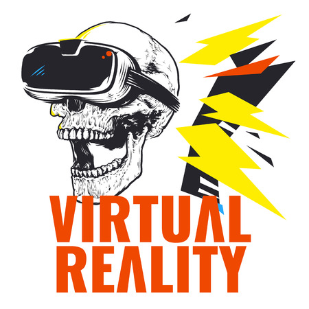 Virtual reality gadget and skull image illustration