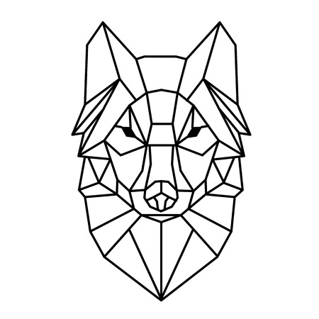Modern Geometry Wolf Design Tattoo Vector Image Çizim