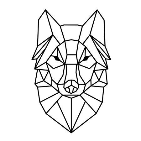 Modern Geometry Wolf Design Tattoo Vector Image Illustration