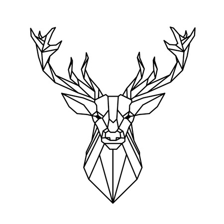 Modern Geometry Reindeer Design Tattoo Vector Image  イラスト・ベクター素材