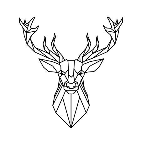 Image de vecteur de tatouage de conception de renne de géométrie moderne