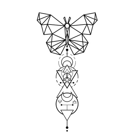 Modern Geometry Butterfly Design Tattoo Vector Image