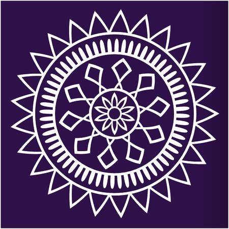 White Geometric Mandala Blue Background Vector Image