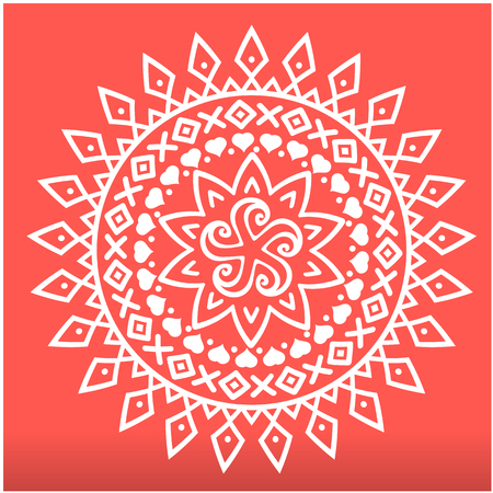White Spearhead Mandala Red Background Vector Image Illustration