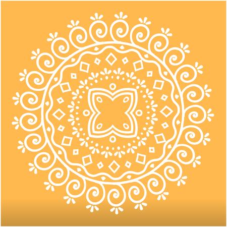 White Abstract Lotus Mandala Orange Background Vector Image