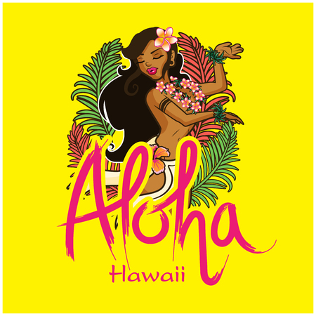 Aloha Hawaii lettering with girl dancing on a yellow background