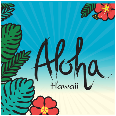 Aloha Hawaii poster with leaves and flowers on an blue Background Vector Image Illustration