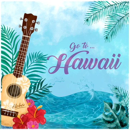 Go To Hawaii poster with a guitar, leaves, flowers and the ocean