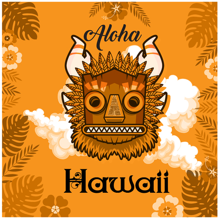 Aloha Hawaii text with mask and leaves background.