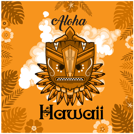 Aloha Hawaii text with tribal mask and leaves background. Illustration