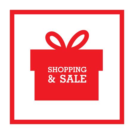 Shopping and sale red gift box background vector image. Ilustração