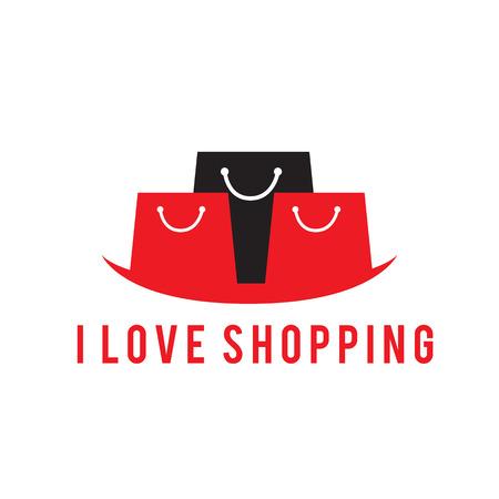 I love shopping black red bag background vector image. Illustration