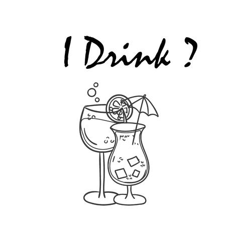 I Drink Juice poster Vector Image Ilustração
