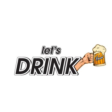 Lets Drink poster  Vector Image 일러스트