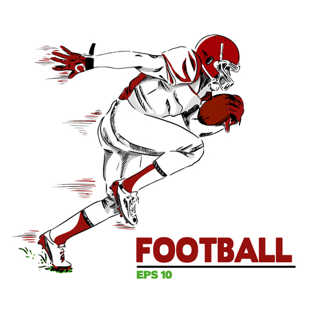 Football with American Football Player Background Vector Image