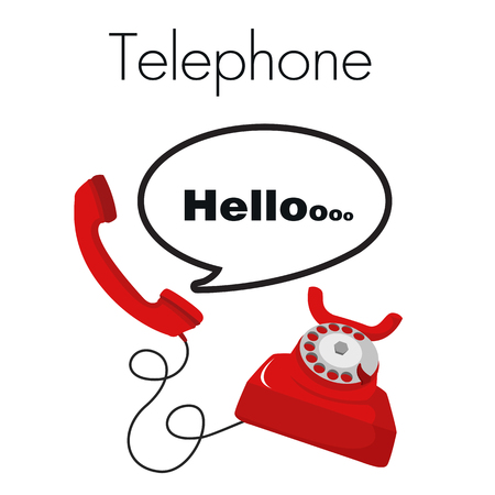 Telephone Hello Red Telephone White Background Vector Image